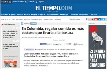 En Colombia, regalar comida es más costoso que tirarla a la basura