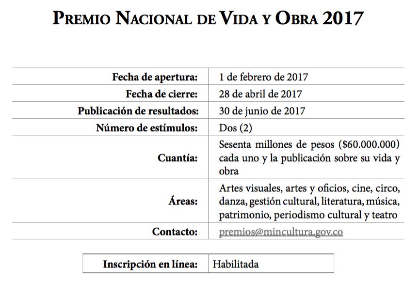 [Convocatoria] Premio Nacional de vida y obra 2017
