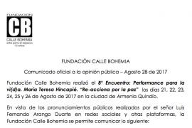 Comunicado oficial a la opinión pública 8° Encuentro: Performance para la vi(d)a. María Teresa Hincapié.