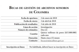 Becas de gestión de archivos sonoros de Colombia [Convocatoria]