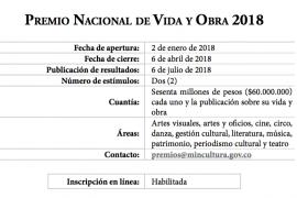 Premio Nacional de Vida y Obra 2018 [Convocatoria]