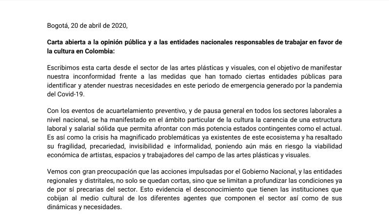 Carta abierta del Sector de las artes plásticas y visuales.