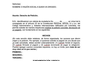 Ejemplo de derecho de petición para descargar - La Nueva Bagatela